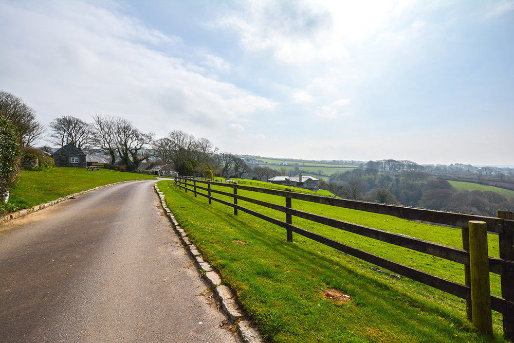 The driveway at Penrose Burden luxury self catering holiday cottage in North Cornwall near Bodmin Moor.jpg