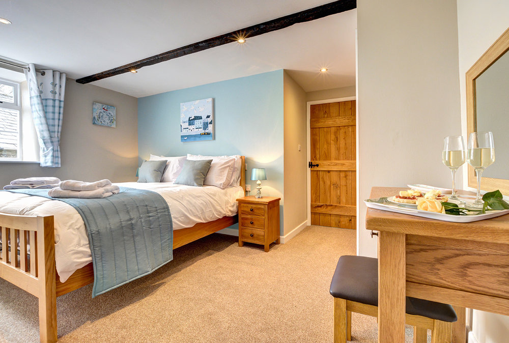 Bedroom two of Butterwell luxury self catering converted barn holiday cottage at Penrose Burden in North Cornwall 01.jpg