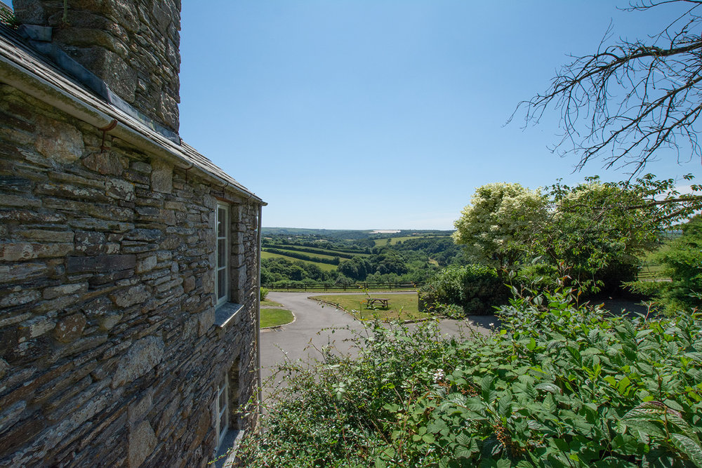 The view from the garden of Butterwell luxury self catering converted barn holiday cottage at Penrose Burden in North Cornwall.jpg
