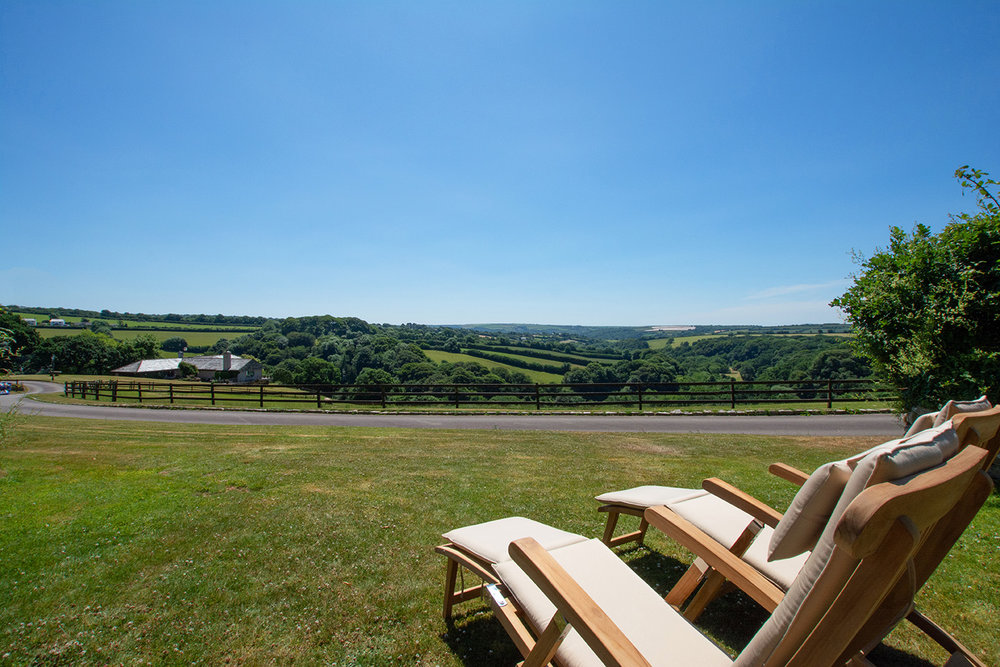 The view from the garden of the Linney luxury self catering converted barn holiday cottage at Penrose Burden in North Cornwall 01.jpg