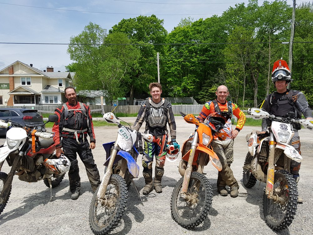 valley rally enduro?? - We work, we ride, we live. It's pretty much that simple. But along the way, a growing desire to share this amazing region with our fellow off road riders started to take shape. Eventually Valley Rally Enduro became necessary as a means of providing riders a credible resource for off road riding in the Ottawa Valley.Who the heck are we? Quite frankly, we are a bunch of moto-addicts. Ask our wives…..ask them how many bikes we each have in our respective garages and whether we can be trusted with house hold funds… Ask them how often we are NOT at home and are off riding...err.. Better yet… don't!
