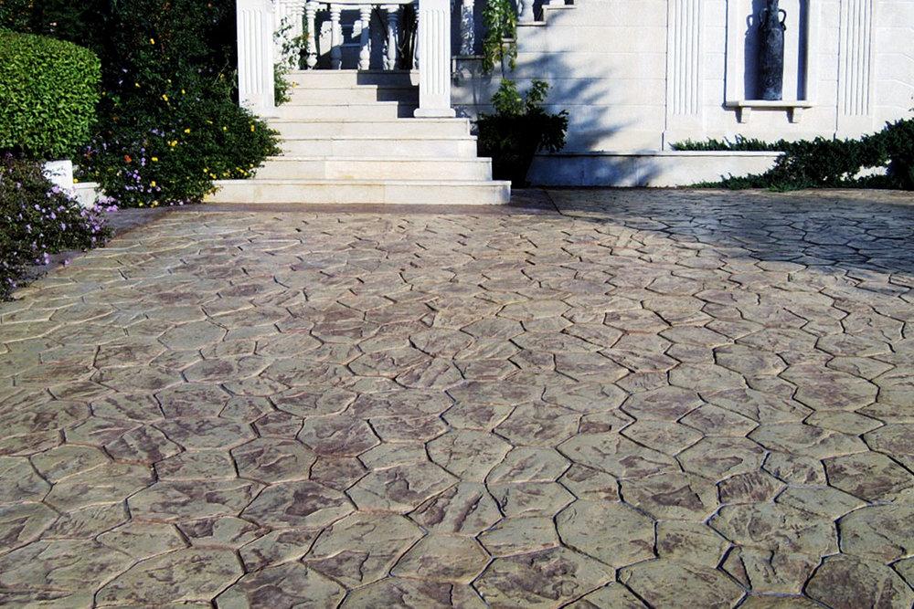 Flower Rock Stamped Concrete