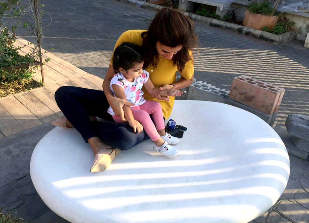 Custom-made concrete pebble seat for L.A.U. Byblos Campus