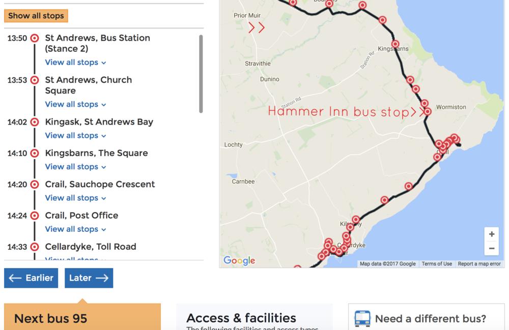 the 95 stops at hammer inn, half way between kingsbarns and crail