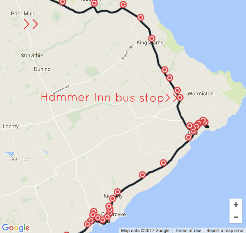 Bus route map: the 95 bus stops at hammer inn, half way between kingsbarns and crail
