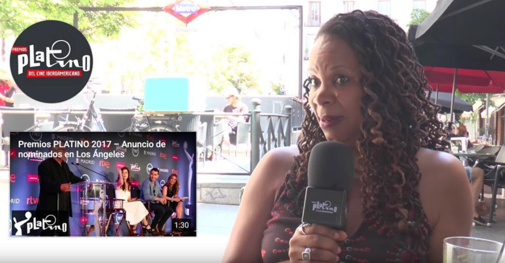 """Chavela"" codirector Daresha Kyi being interviewed by Premios Platino."