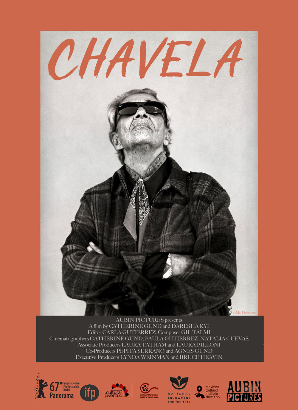 CHAVELA poster,   dimensions 24 x 36, $30   Through its lyrical structure, CHAVELA takes viewers on an evocative, thought-provoking journey through the iconoclastic life of game-changing artist Chavela Vargas. Centered around never-before-seen interview footage of Chavela shot 20 years before her death in 2012, and guided by the stories in Chavela's songs, and the myths and tales others have told about her—as well as those she spread about herself—the film weaves an arresting portrait of a woman who dared to dress, speak, sing, and dream her unique life into being. Learn more:  chavelavargasfilm.com .  Ships via USPS in 2 to 9 business days.