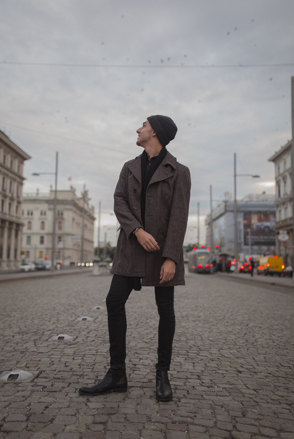 OUTFIT:    Coat - (VINTAGE)    Shirt - OLYMP    Jeans - LEVI`S    Boots - PAT CALVIN    Scarf - COS    Cap - COS    Watch - EMPORIO ARMANI    Ring - (VINTAGE)       Photography:  Sonja Petrkowsky