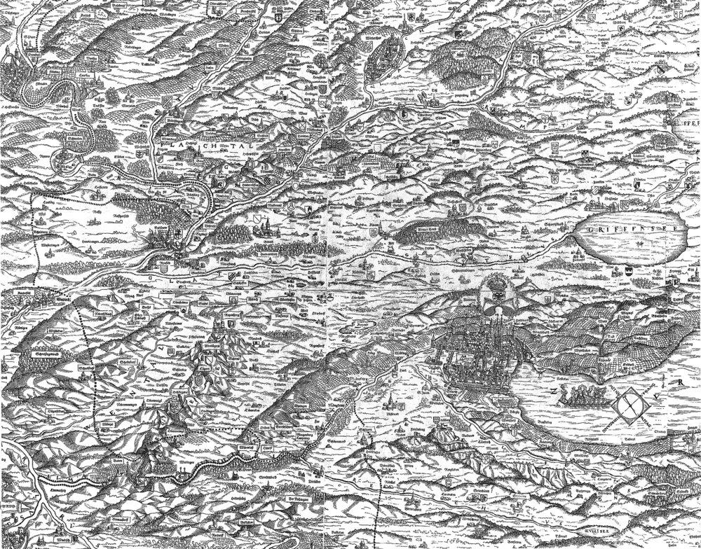Ausschnitt aus der Karte des Zürcher Gebiets von Joost Murer, 1566 Quelle: Die Bauernhäuser des Kantons Zürich, Band 3, Zürcher Weinland, Unterland und Limmattal, Basel 1997