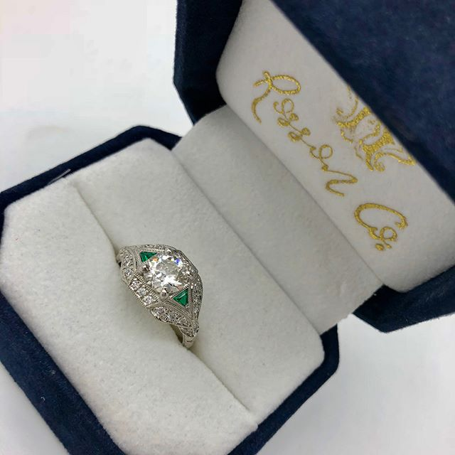 **Yay!! It's a first** A #RossonCo original has hit the case! This beautiful vintage revival piece holds a 1.09 Old European cut diamond and is embellished with trillion cut emeralds. It's a one-of-kind showstopper 🤩