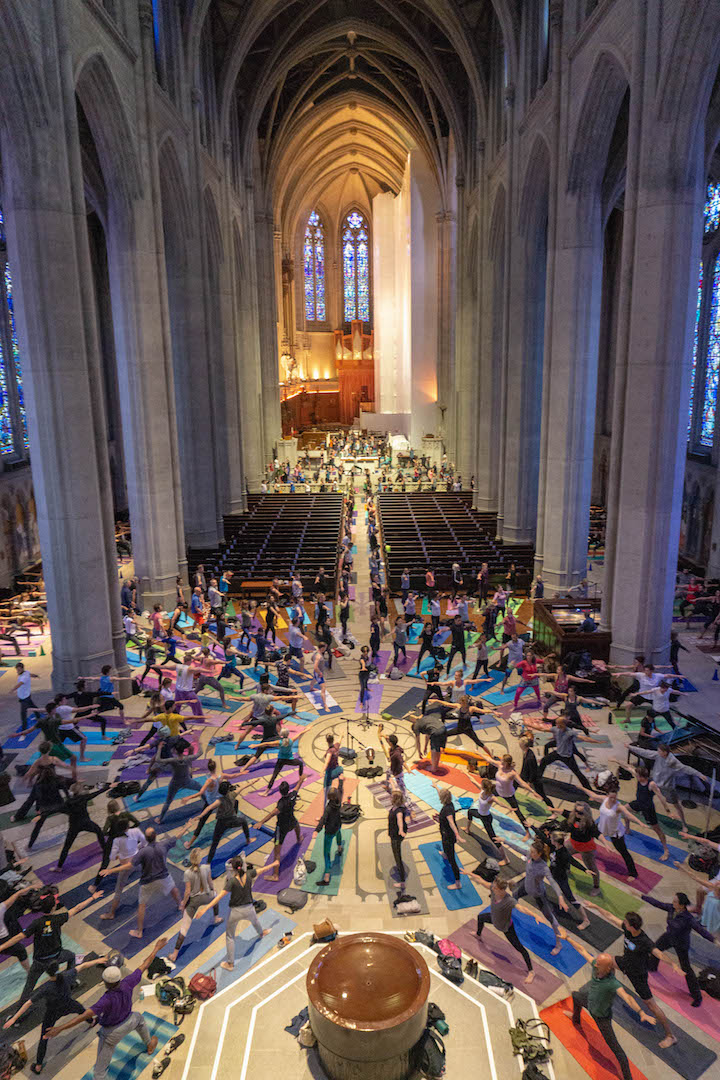 Yoga photographer and adventure photographer Dalton Johnson photographing in San Francisco Grace Cathedral. Yoga photos of Yoga on the Labyrinth.  If you are looking for an yoga photographer in California, the Bay Area, Santa Cruz, San Francisco or the World drop me an  email   Yoga photo by  Dalton Johnson Media