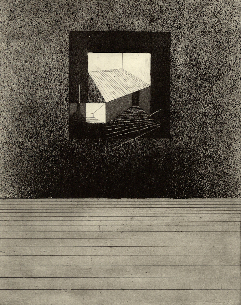 "Room IV,  etching, 8""x10"" 2014"