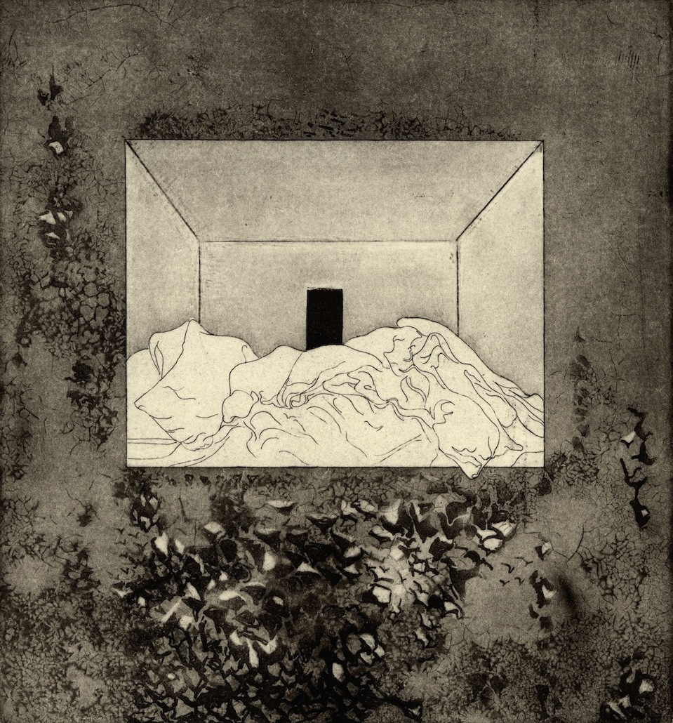 "Room V,  etching, 6.5""x7"" 2014"