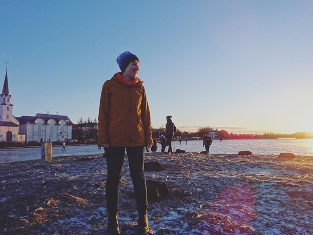 Me on an island in the middle of a frozen lake - so cool! #Reykjavik #sunset #frozenlake #Iceland #tripstagram #travel