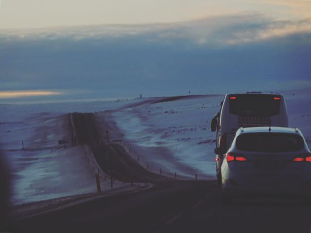 The overtake... . . . . . #Iceland #travel #tripstagram #car #driving #roadtrip #overtake #bustour #backpacking #sunset #ice #snow