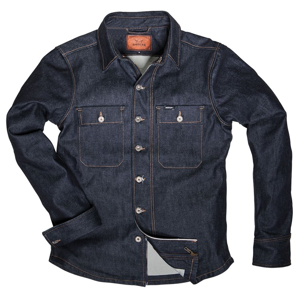 ROKKER DENIM RIDER SHIRT RAW   - Classic denim jacket cut (slightly waisted)   - Shell made of fine 13 oz raw denim (100% cotton)   - Interior made of 100% schoeller®-dynatec (abrasion-resistant, wind- and water-repellent)   - Easy care  - Classic denim jacket cut (slightly waisted)   - Shell made of fine 13 oz raw denim (100% cotton)
