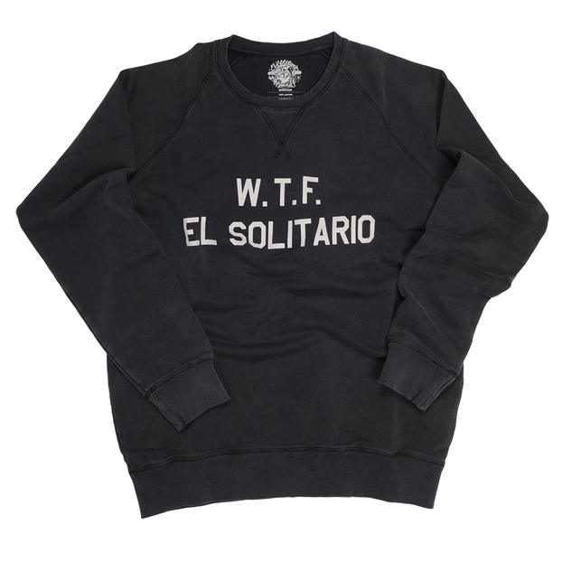 WTF EL SOLITARIO SWEATSHIRT BLACK  100% Cotton marble washed sweater  Making the right clothing piece is a hard job when you are a small company. Workshops that have the quality and the technique to do it just right, don't want to fiddle with young brands. On the other hand we had very clear we wanted to develop something unique and solid. Put simple; our vision of the perfect sweater. This concept was very wide & included, to contract with a fair supplier, define cotton weight, fit, ribs, neck, wash, labelling... In other words; an El Solitario attitude & feel! Made in Portugal, this classic, yet modern, 100% Cotton, marble washed, sweater kills it.