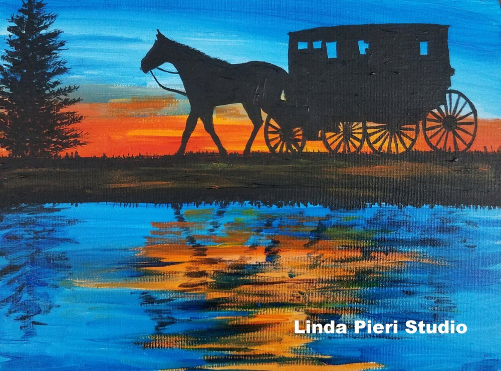 Amish Buggy Silouette in lake (level 1)