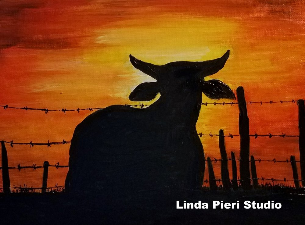 Silhouette of cow at sunset (level 1)