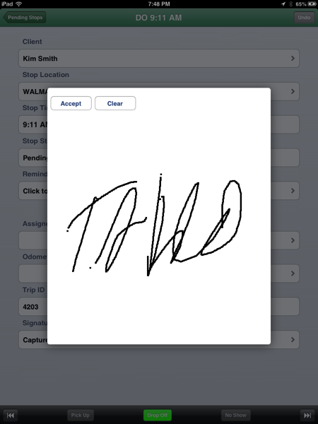 Signature collection on iPad