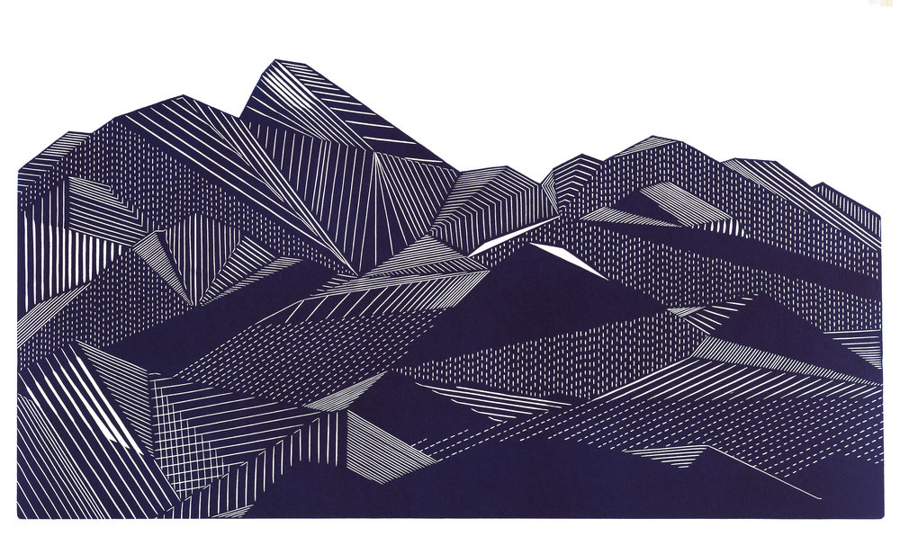 I Shut My Eyes In Order To See IX , 14.5x25 inches, linoprint, 2017, Edition of 8