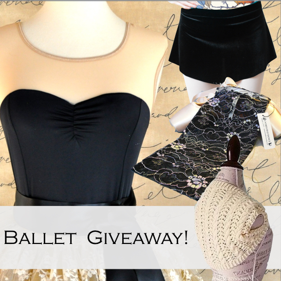 It's an all ballet giveaway! Enter now for you chance to win a selection of handmade ballerina essentials, worth a total of $140. Grand prize includes an Entrechat Dance Aurora leavers lace ballet shoe bag, a gorgeous black and beige mesh leotard from The Accidental Artist, Sarah Arnold, a hand-knit ballet shrug by Cirencester Abbey, and a lovely stretch velvet ballet skirt by Reverence Dancewear.