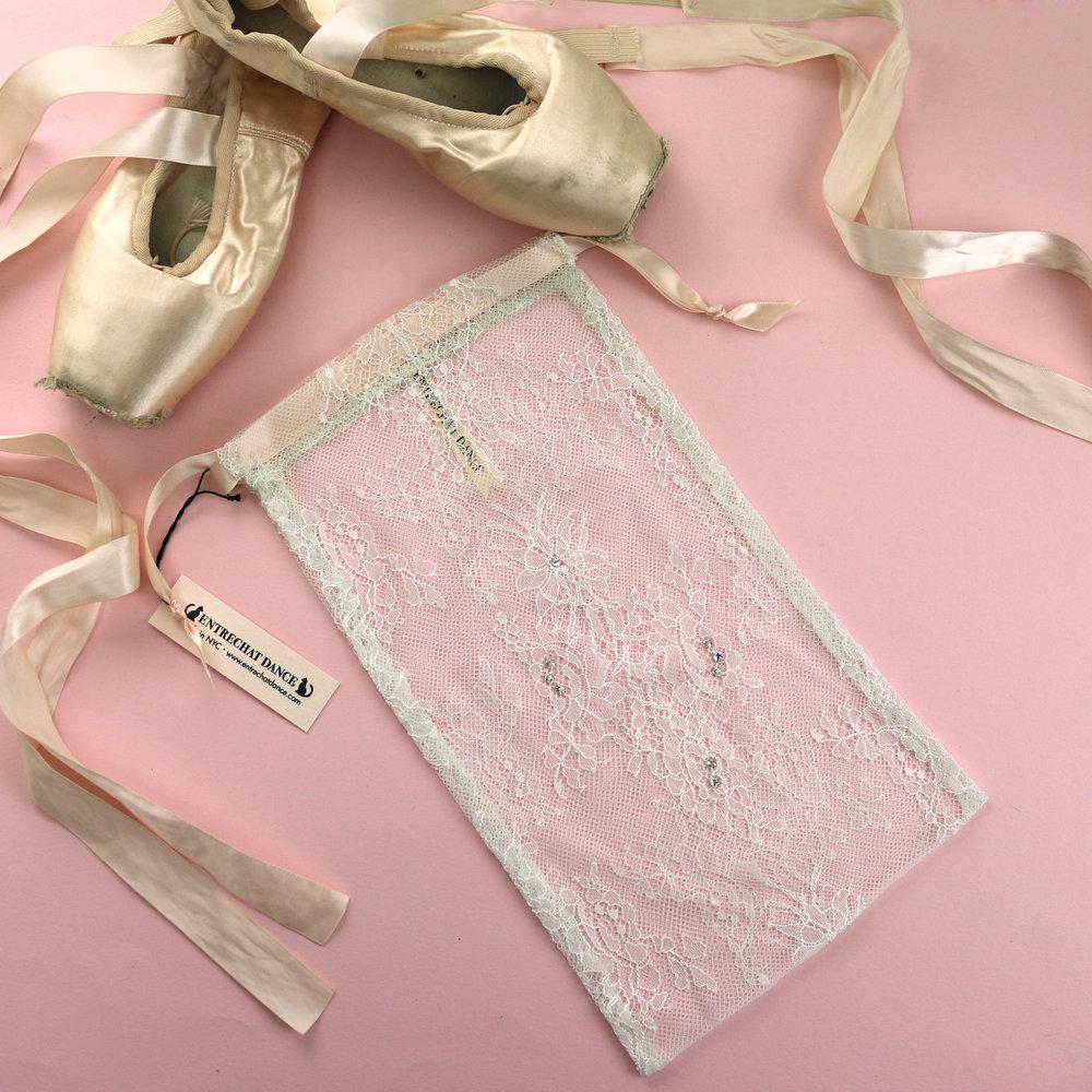 bc07888b1da0 Entrechat Dance Ivory Alexandra Lace Pointe Shoe Bag with Clear Swarovski®  Crystals. — Entrechat Dance
