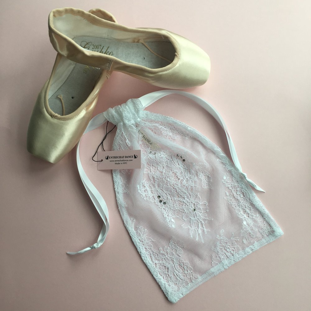 3e24c9a4d686 Entrechat Dance White Alexandra Lace Pointe Shoe Bag Embellished with  Swarovski® Crystals.