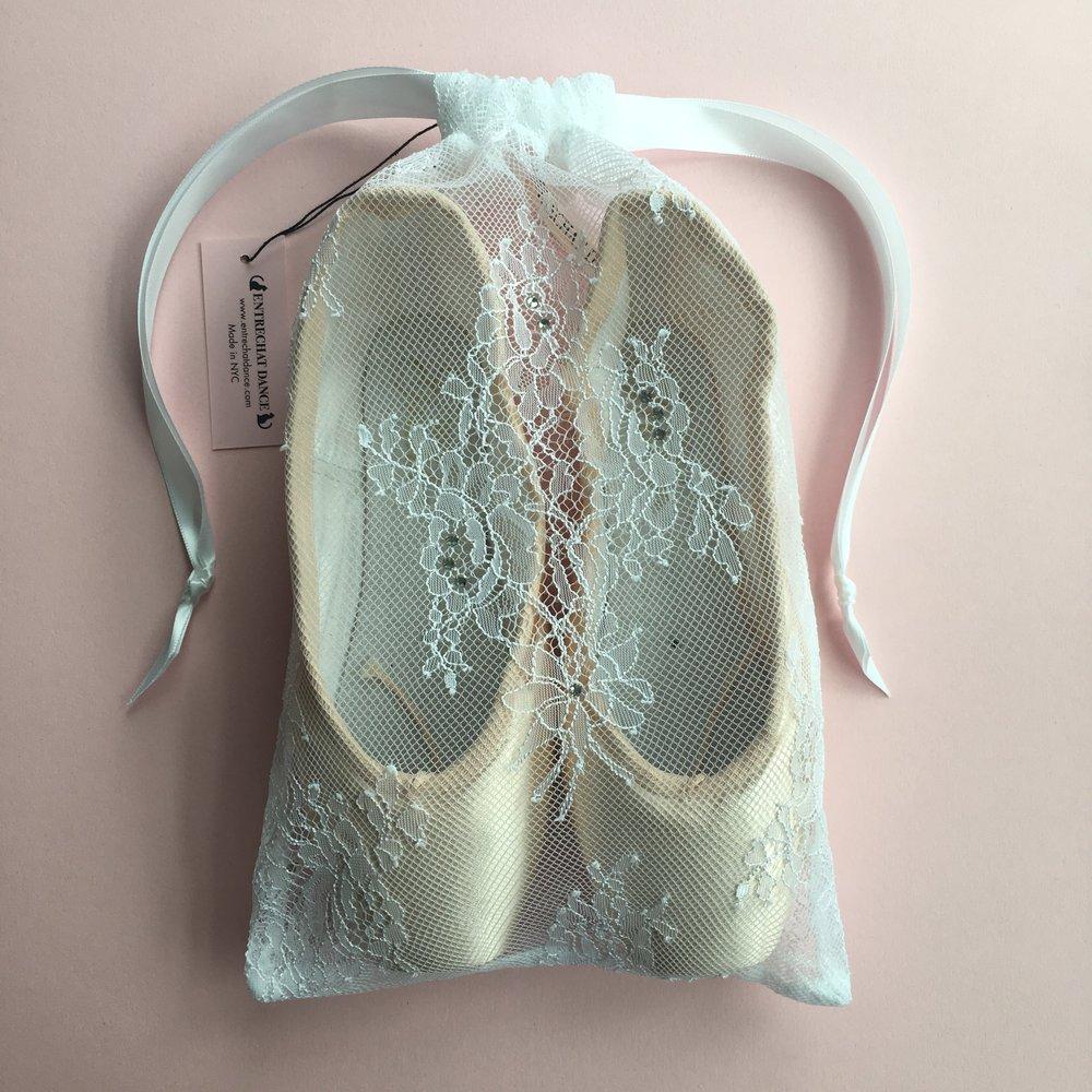845d02ef7389 Entrechat Dance White Alexandra Lace Pointe Shoe Bag Embellished with  Swarovski® Crystals.