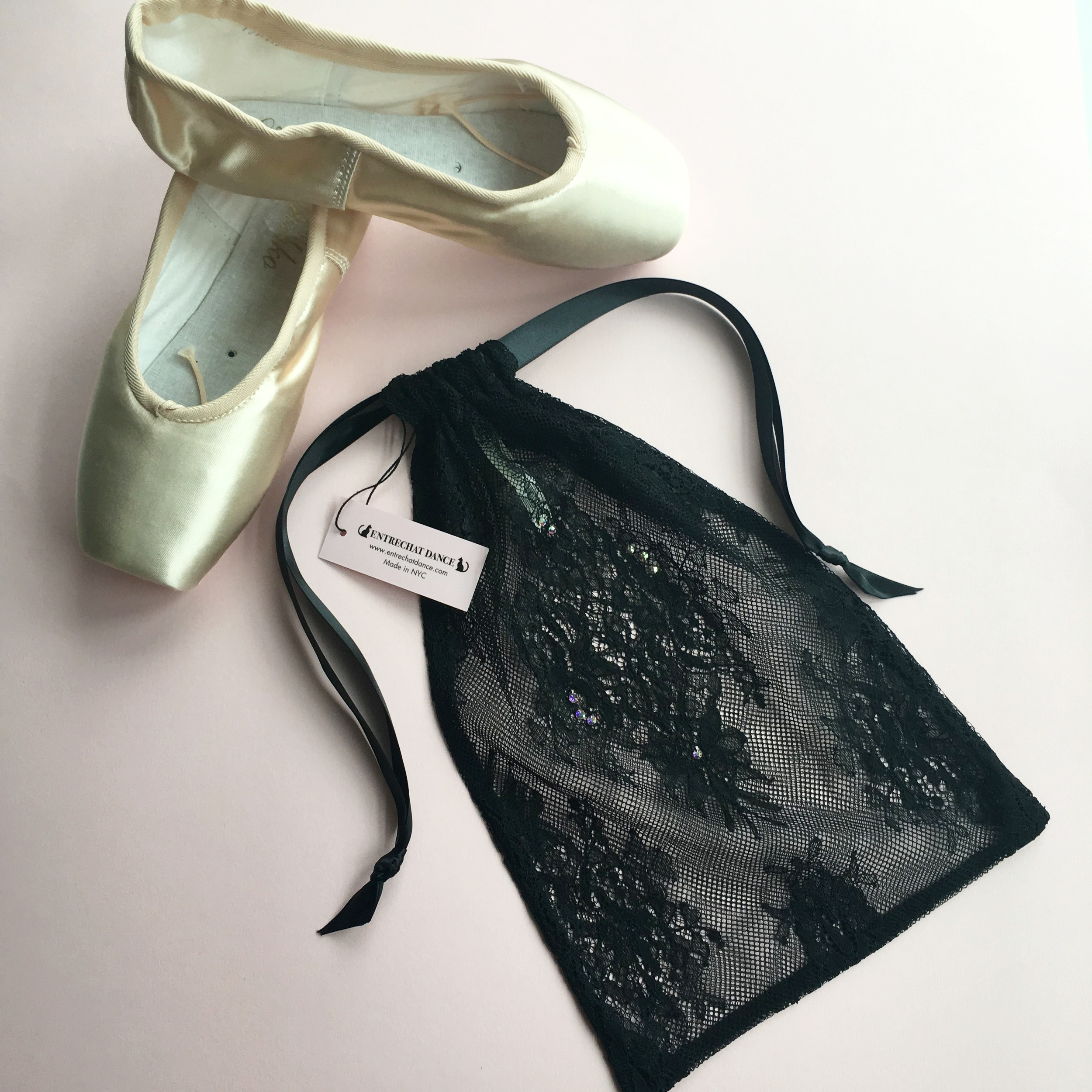 7f913e434adb Entrechat Dance Black Alexandra Lace Pointe Shoe Bag Embellished with  Swarovski® Crystals.