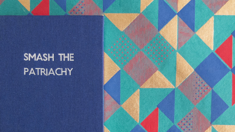 Smash the Patriachy - I love the endpapers on this book, they are fast becoming my favourites and i was so happy when i found it in Paperchase i bought alot of it! The blue covering material matches the darker blue of the paper so well i knew i had to make a notebook with this combination.