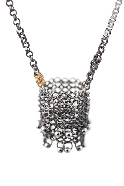 Long Basket Necklace -Titanium, silver & gold