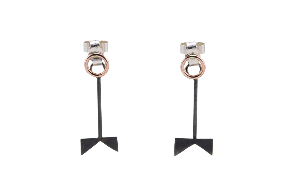 'Forked-Tree' Stacker Earrings - Oxidised Silver & Rose Gold