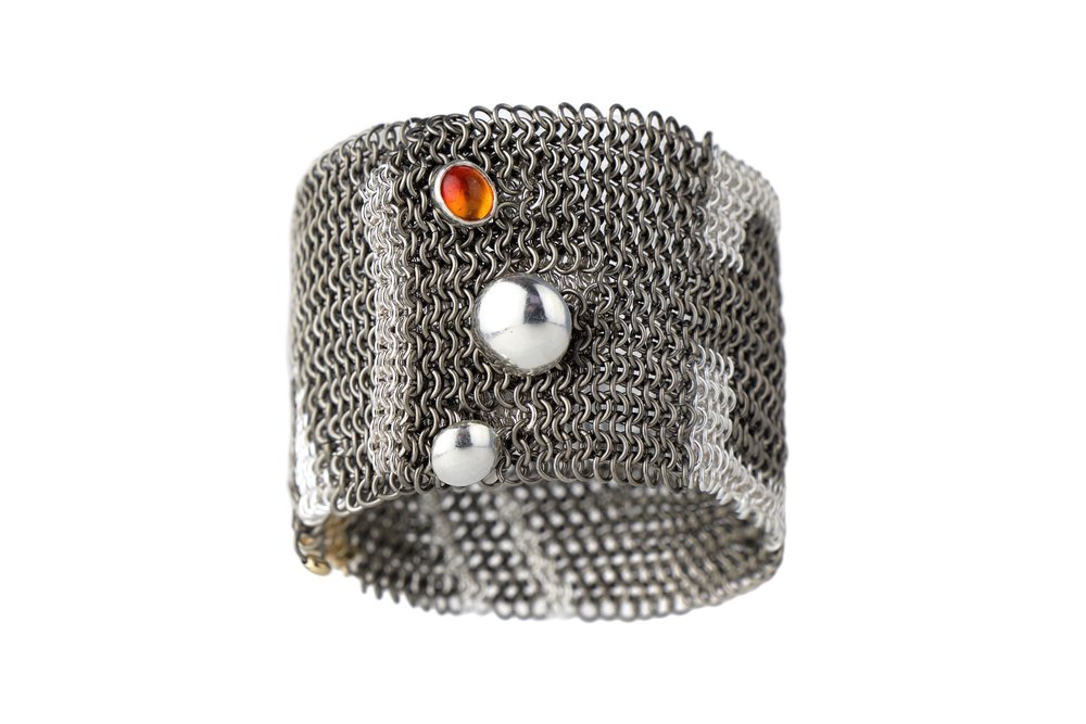 Reflections collection chainmail cuff. Titanium, silver and gold.