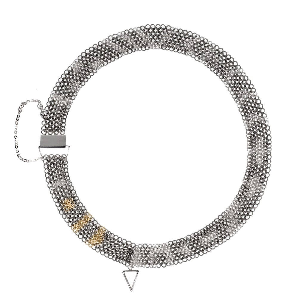 Inter-Woven Collection Collar Necklace - titanium, silver and 9ct gold.