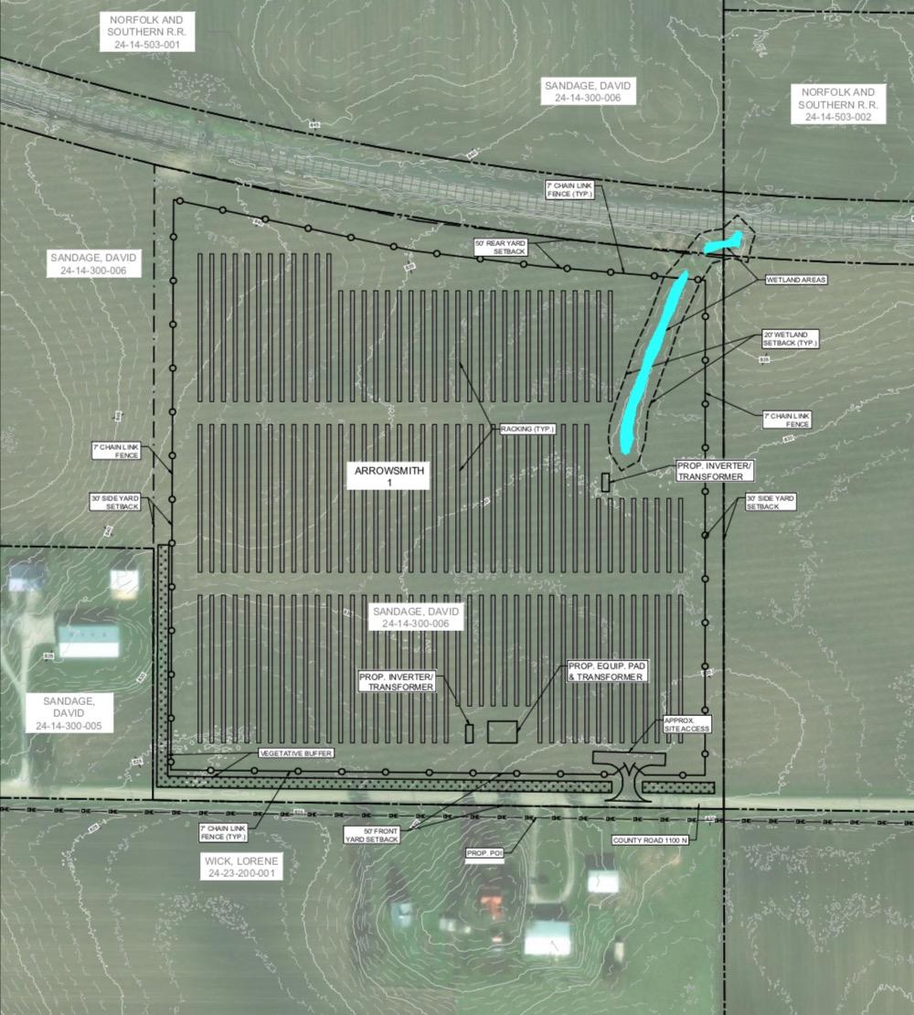 Plans for the Arrowsmith I solar farm at 35200 County Road 1100 N, Arrowsmith.