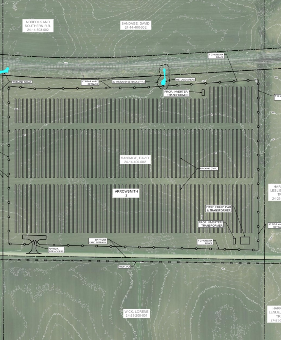The Arrowsmith II facility site at 36300 County Road 1100 N, Arrowsmith