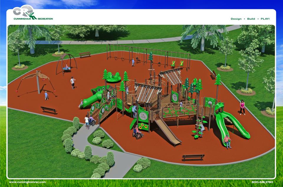 Both accessible and inclusive features are included in the proposed design. A total of $350,000 is needed to make the playground a reality. (Image Credit: Harmony Park Project.)