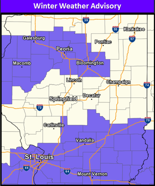 The National Weather Service in Lincoln issued a Winter Weather Advisory from 6:00 p.m. Tuesday to 6:00 a.m. Wednesday. (Image Credit: National Weather Service Lincoln, Illinois)