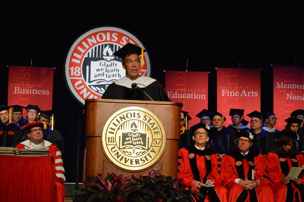 Craig Bouchard, recipient of an honorary doctoral degree,speaks at the Founder's Day Convocation Thursday afternoon at Illinois State University. (Image Credit: Breanna Grow)