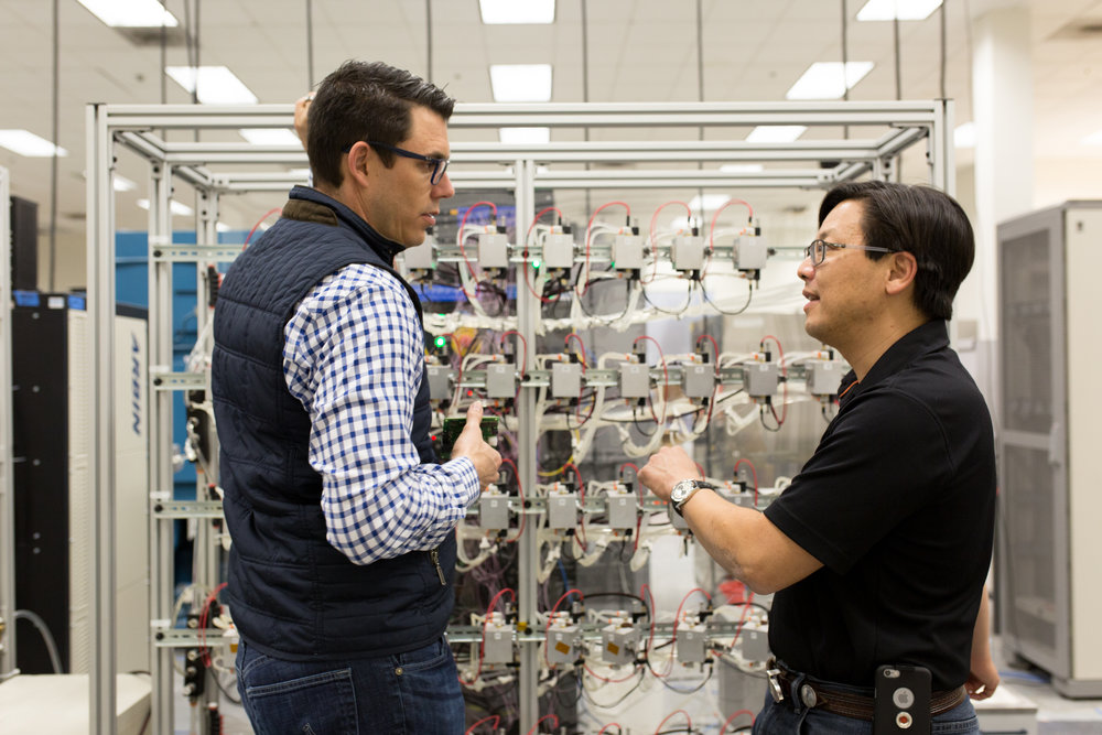 Rivian CEO RJ Scaringe and Charles Chang Director of Energy Storage Systems in their battery lab in Irvine California (Photo: Rivian)