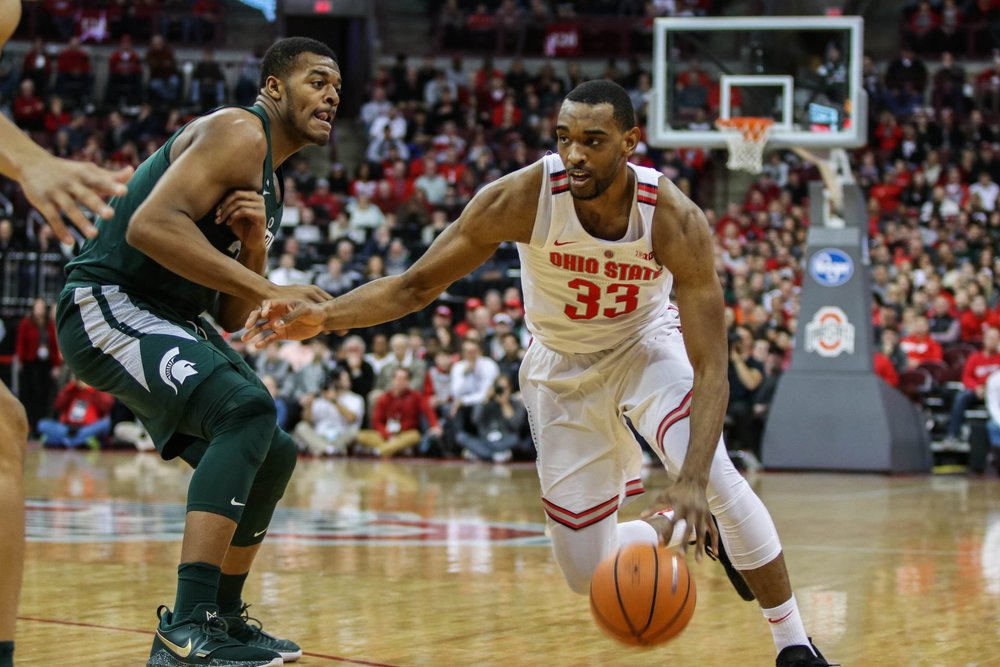 Keita Bates-Diop at a Jan. 7th Game against Michigan State (Credit Jack Westerheide, Photo Editor |  OSU's The Lantern )