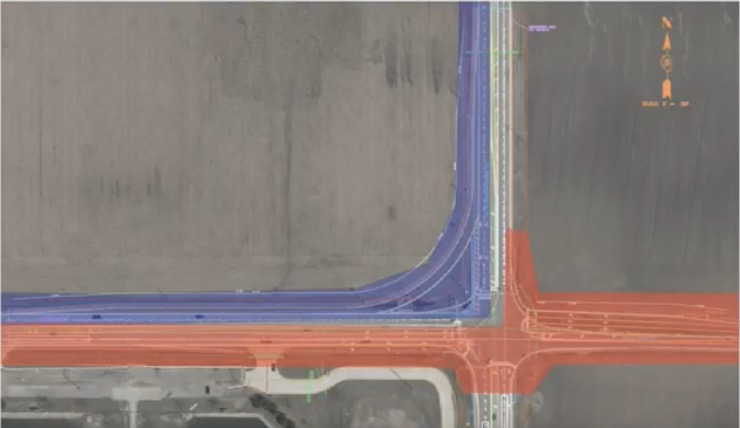 The intersection at Towanda-Barnes and Ireland Grove. Blue highlights show the added right-turn lane. (Graphic: City of Bloomington)