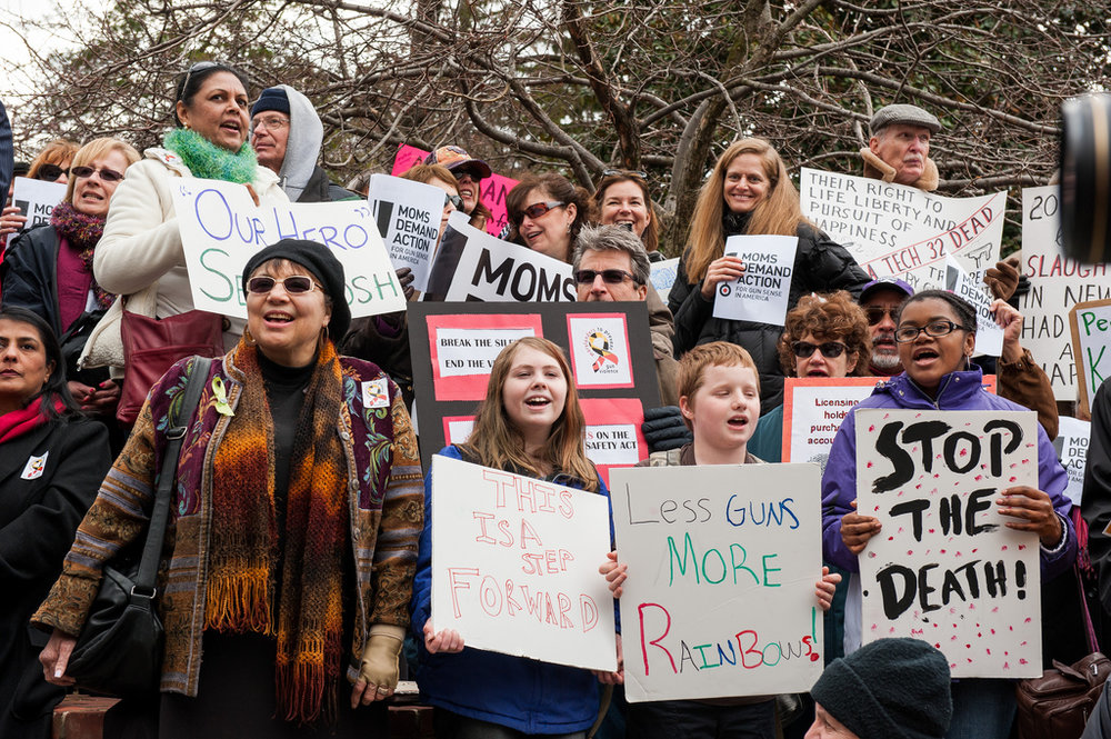 Gun violence protests have become increasingly common in the wake of recent mass shootings. Participants (pictured above) gathered for a similar rally in Maryland in 2013 (Image credit: Flickr).