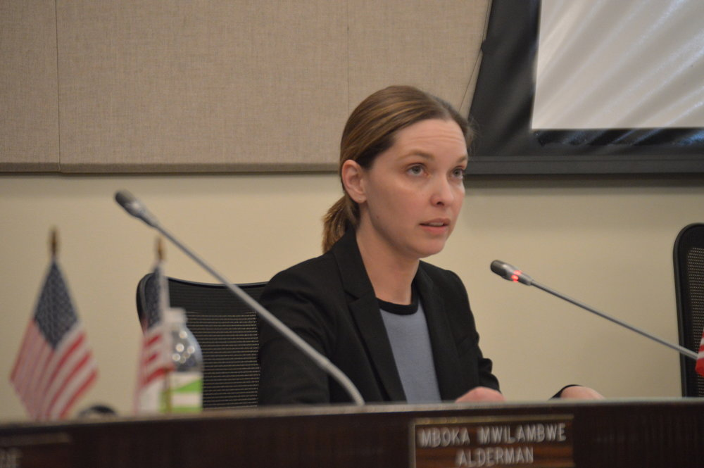 Alderwoman Amelia Buragas said it's still too soon to say whether the Bloomington Public Library Board's decision to expand the library at its current site is the most fiscally responsible option. (Image Credit: Breanna Grow)