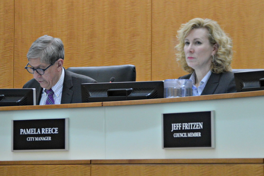 Former Deputy City Manager Pamela Reece attended her first Town Council meeting as City Manager Monday night. Reece succeeds Mark Peterson, who formally retired March 30. (Image credit: Breanna Grow)