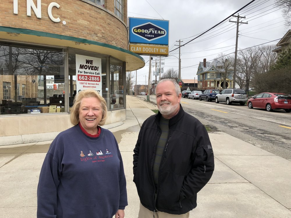 Ruth and Brian Trower outside the recently-vacated Clay Dooley Tire and Auto location in Downtown Bloomington. The siblings, along with two brothers, David and Steve, still own the 1507 E. Vernon St. location.