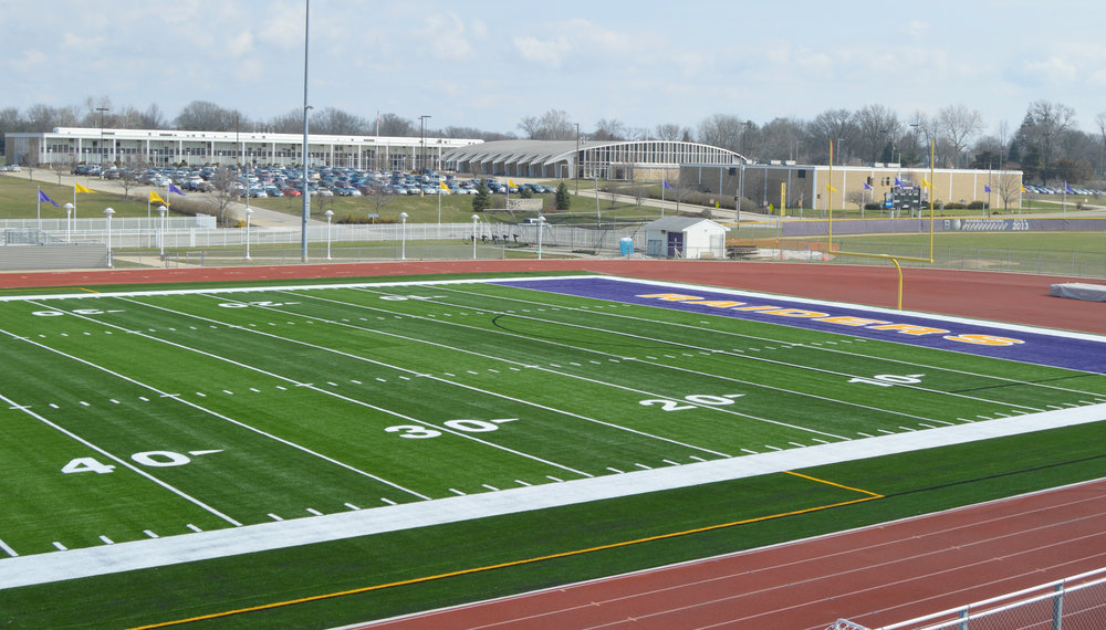 District 87 spent $994,000 to replace Bloomington High School's grass athletic field with artificial turf that, according to district officials, will see far more use from students and community members. (Image credit: Breanna Grow)