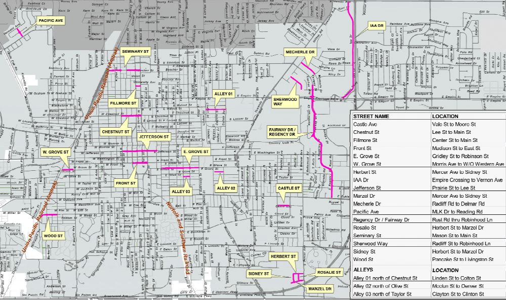 Summer road work for the City of Bloomington includes over $4.3M of general resurfacing work to select streets and alleyways, including portions of Jefferson Street, Grove Street, IAA Drive and Fairway Drive. (Image credit: City of Bloomington, Public Works Department)