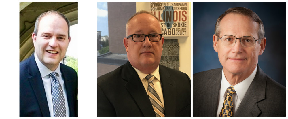 The City of Bloomington announced three finalists for its city manager position Tuesday afternoon: Washington, Illinois City Administrator Jim Culotta; Decatur City Manager Tim Gleason; and Bloomington Interim City Manager Steve Rasmussen. (Photos: City of Bloomington)